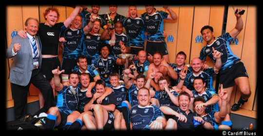Cardiff Blues celebrate in the changing rooms at the Stade Vélodrome
