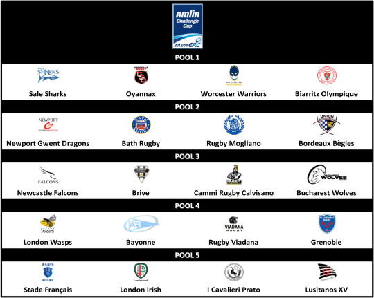 Amlin Challenge Cup 2013-14 Pools