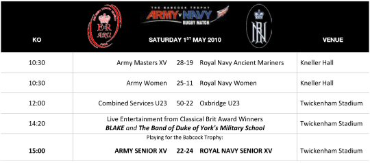 Army Navy Day Schedule