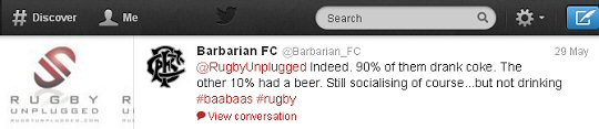 Barbarians tweet at Rugby Unplugged
