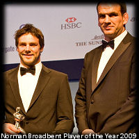 Ben Foden RPA Norman Broadbent Player of the Year 2009 with Martin Johnson