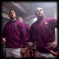 Chris Robshaw Mike Brown tunnel Wales England RBS Six Nations 2015