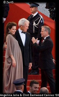 Clint Eastwood with Angelina Jolie on the Red Carpet at Cannes 2008