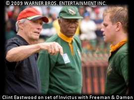 Clint Eastwood, Matt Damon & Morgan Freeman on the set of Invictus