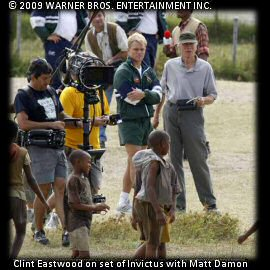 Clint Eastwood on set with Matt Damon