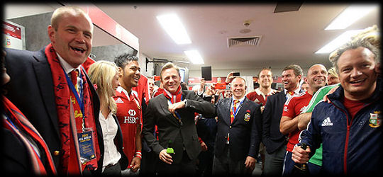 Daniel Craig post Lions Tour 2013 in the changing room