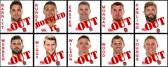 England Rugby Squad 2016 rejects