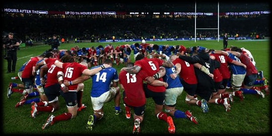England Samoa the huddle