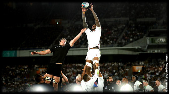 England v New Zealand Courtney Lawes beats Scott Barrett at the lineout SF2 RWC2019