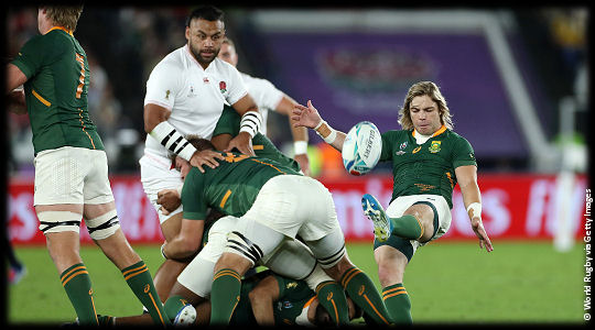 England v South Africa Faf de Klerk clears from breakdown Billy Vunipola looking on The Final RWC2019