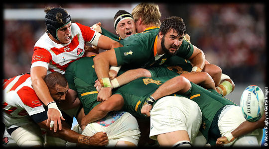 Japan v South Africa Lood de Jager trapped QF4 RWC2019
