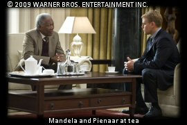 Mandela and Pienaar at tea