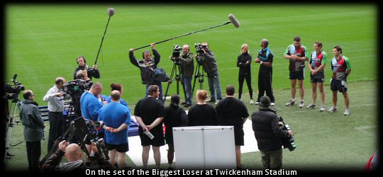 Harlequins players Nick Easter, Nick Evans & Danny Care on the set of The Biggest Loser at Twickenham