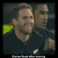 Kieran Read after scoring his 2nd try test