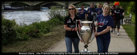 Walk4Matt Richmond Riverside with the Premiership trophy