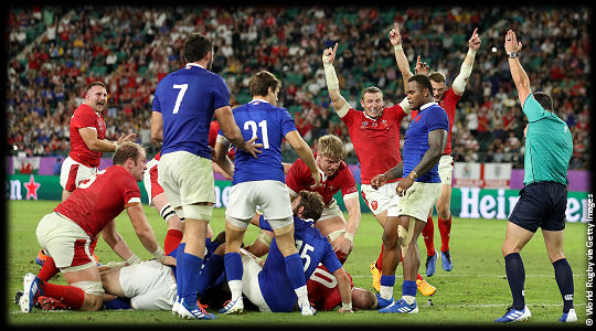 Wales v France Ross Moriarty try QF3 RWC2019