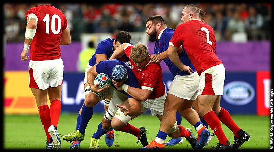 Wales v France Wenceslas Lauret wrapped by Aaron Wainwright QF3 RWC2019