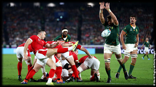 Wales v South Africa Ball charged down RWC2019