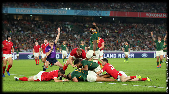 Wales v South Africa Damian de Allende try RWC2019