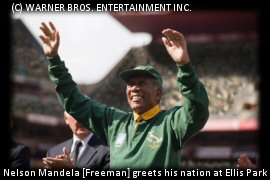 Morgan Freeman playing Nelson Mandela at Ellis Park, RWC Final
